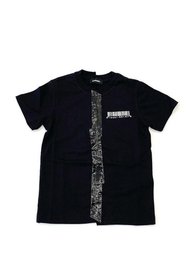 Diesel t-shirt nera con logo frontale