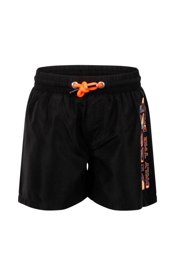 Diesel Kids costume bambino nero con dettagli stampati sul fianco e laccetti orange fluo