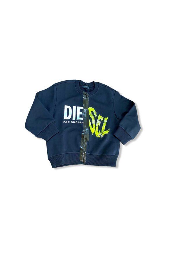Diesel Kids felpa blu con logo Diesel posizionato davanti