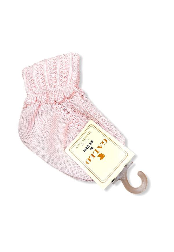 Gallo calzini rosa per bambina ricamati