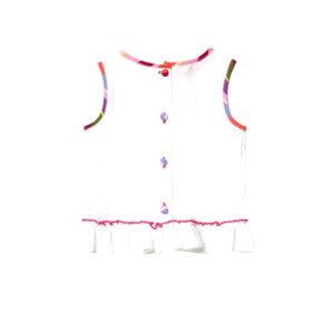 Gallo Top In Lino Per Bambina Bianco Con Dettagli Multicolor