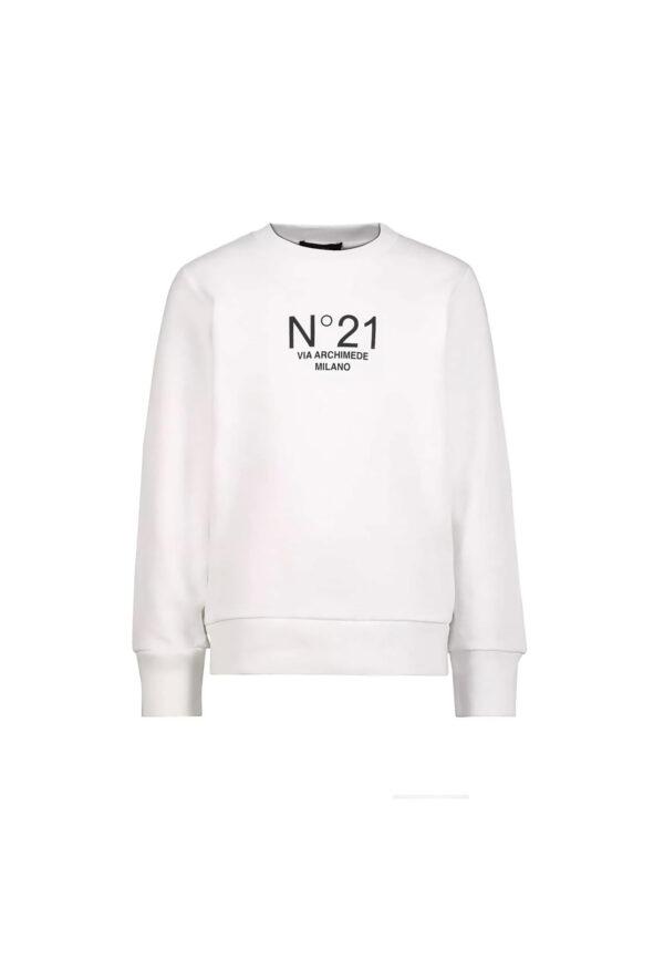 N°21 felpa bianca con logo N°21 manica lunga