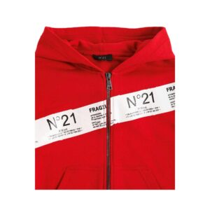 N°21 Felpa Rossa Con Cappuccio E Logo Frontale