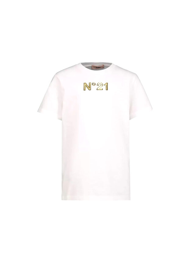 N°21 t-shirt bianca con logo oro