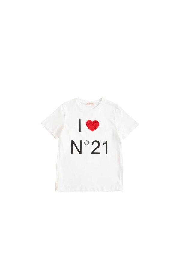 N°21 t-shirt ragazza manica corta bianca