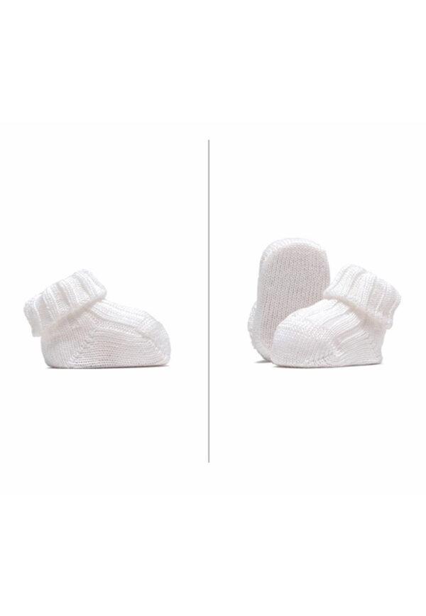 Gallo babbucce bianche neonato a costine