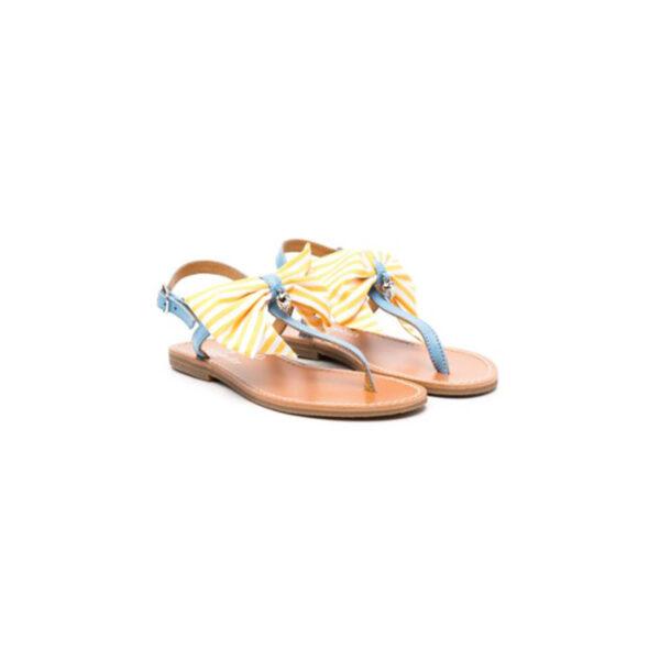 Simonetta sandali infradito con cinghia blu e fiocco giallo a righe