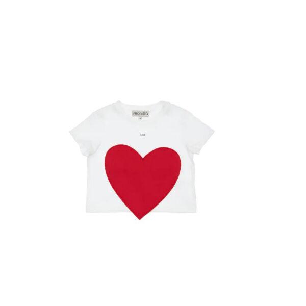 Simonetta t-shirt mezza manica bianca con cuore posizionato davanti