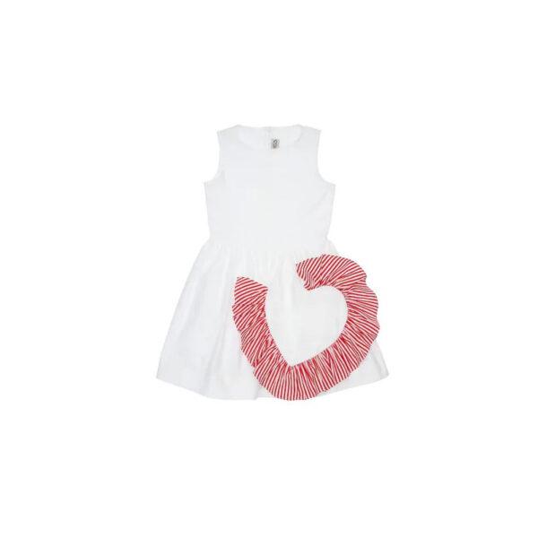 Simonetta vestito bianco per bambina con applicazione rossa