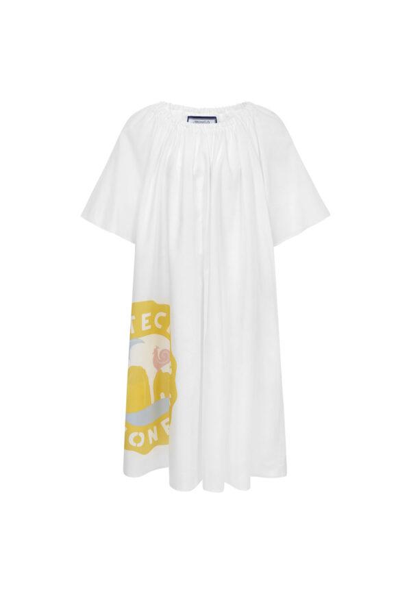 Simonetta abito lungo bambina bianco con motivi decorati in giallo