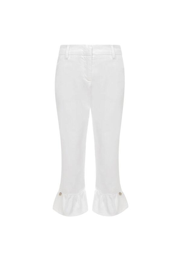 Simonetta pantaloni bianchi per bambina con ricami alle caviglie e passanti per la cintura
