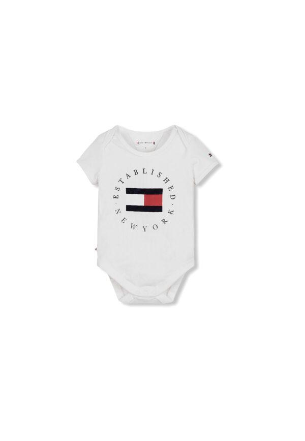 Tommy Hilfiger Junior Body bianco per neonato con logo davanti