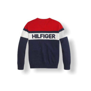 Tommy Hilfiger Junior Maglioncino Blu E Rosso A Fasce Con Logo