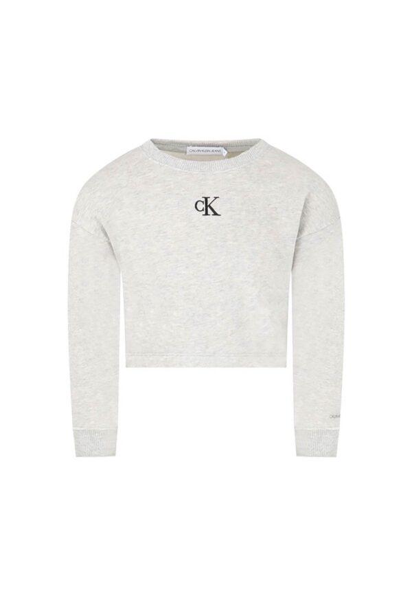 Calvin Klein felpa grigia per bambina con logo