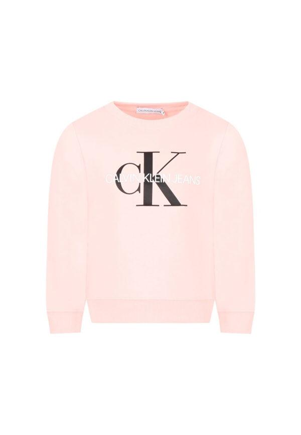 Calvin Klein felpa rosa per bambina doppio logo