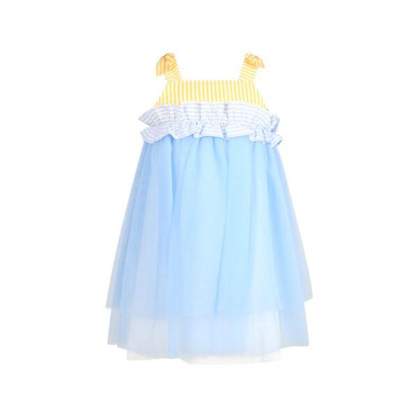 Simonetta vestito celeste con parte superiore a righe bianche e gialle