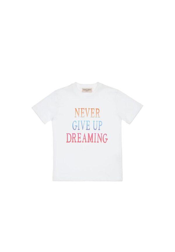 Alberta Ferretti Junior t-shirt bianca con testo stampato never give up dreaming