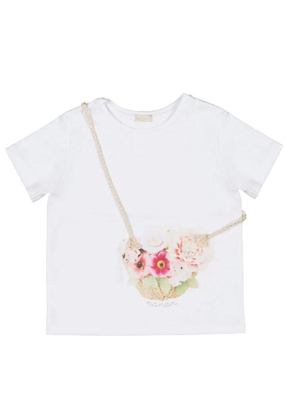Nanan t-shirt bimba bianca manica corta