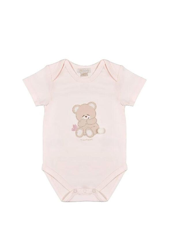 Nanan body rosa per neonata con orsetto