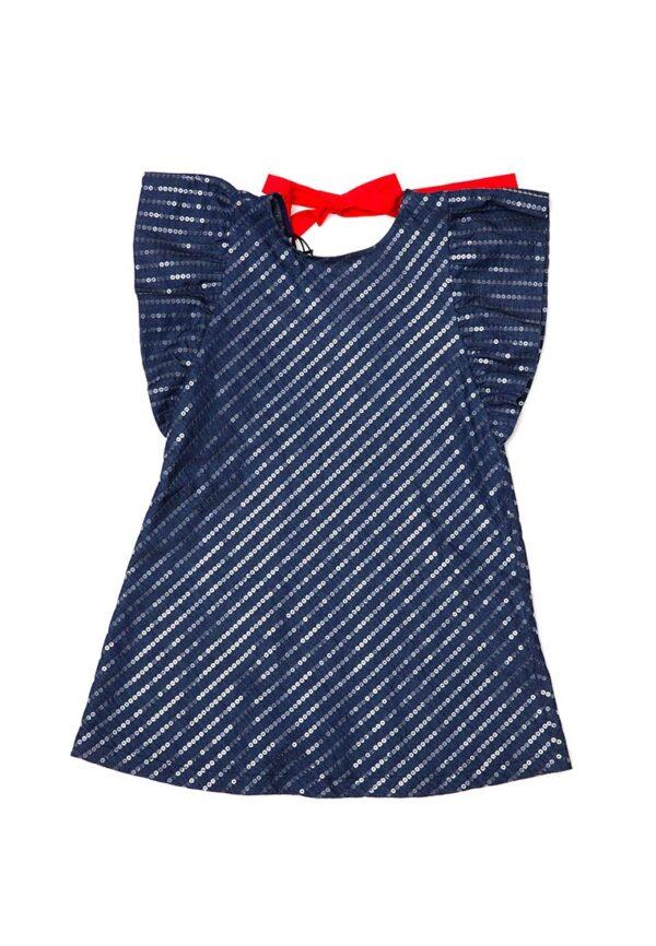 PEUTEREY abito bambina blu con paiettes e fiocco rosso