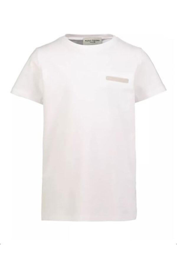 Paolo Pecora t-shirt bianca con taschino finto
