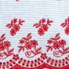 Peuterey abito a rughe blu con dettagli floreali in rosso