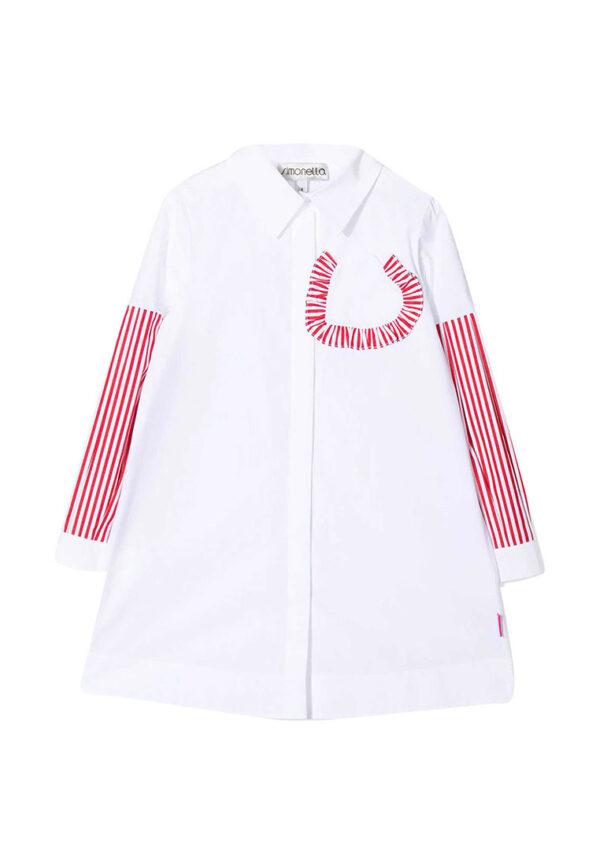 Simonetta kids abito bianco con maniche a righe rosse