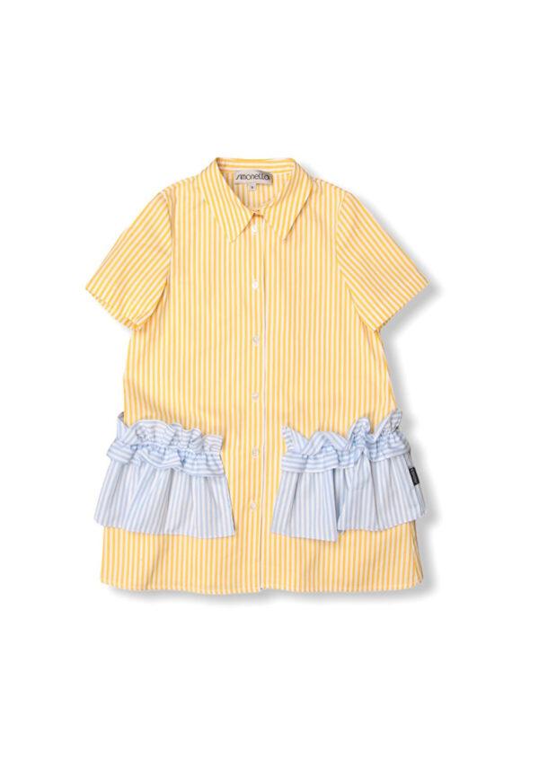 Simonetta kids abito giallo a righe con tasche a contrasto
