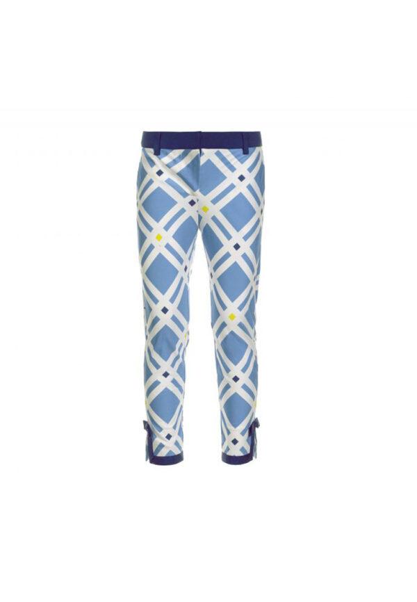Simonetta pantaloni in raso motivo maioliche