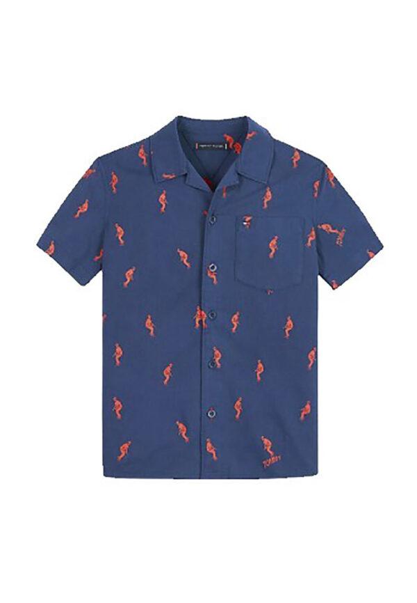 Tommy Hilfiger camicia blu con stampa sci