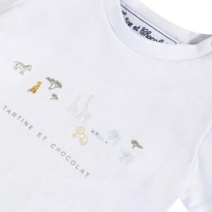 Tartine Et Chocolat Bermuda T-shirt Blu Sky Con Animali Della Savana