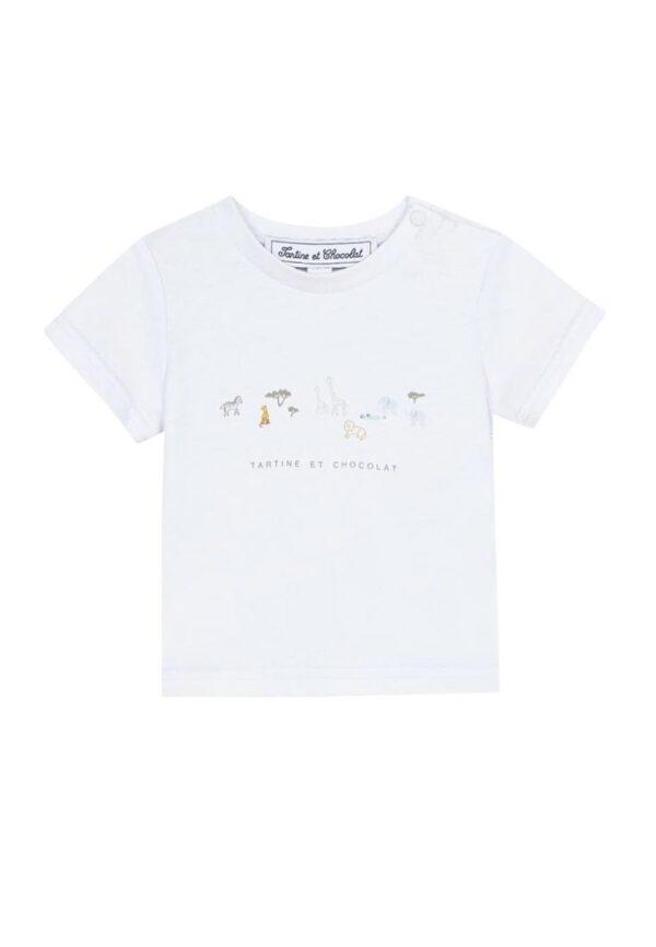 Tartine et chocolatt-shirt bianca con motivo animaletti savana stampato
