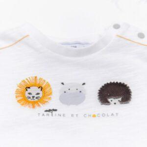 Tartine Et Chocolat T-shirt Bianca Con Stampa Animaletti