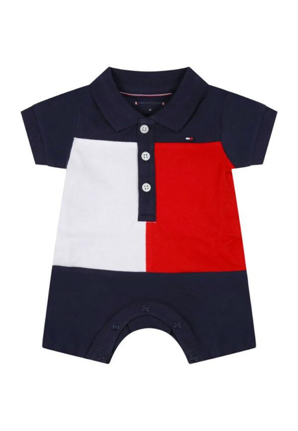 Tommy hilfiger junior pagliaccetto blu per neonato con dettagli bianchi e rossi