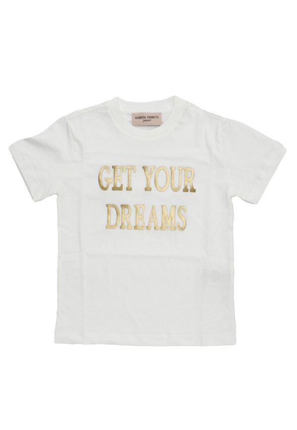 Alberta Ferretti Junior shirt bianca con testo net your dreams