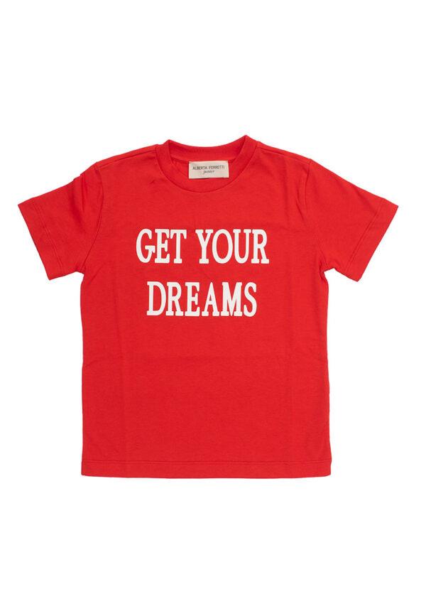 Alberta Ferretti Junior shirt rossa con testo net your dreams