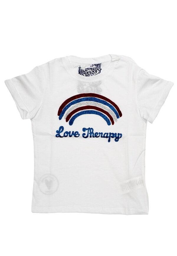 Love therapy t-shirt bianco stampa arcobaleno