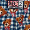 MC2 Saint Barth costume boxer mare bambino a quadretti blu con stampa orso