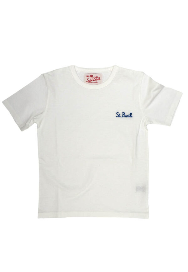 MC2 Saint Barth t-shirt bianca con logo blu