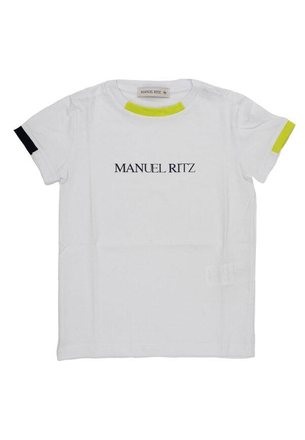 Manuel Ritz shirt bianca con orlo manica colore diverso per bambino