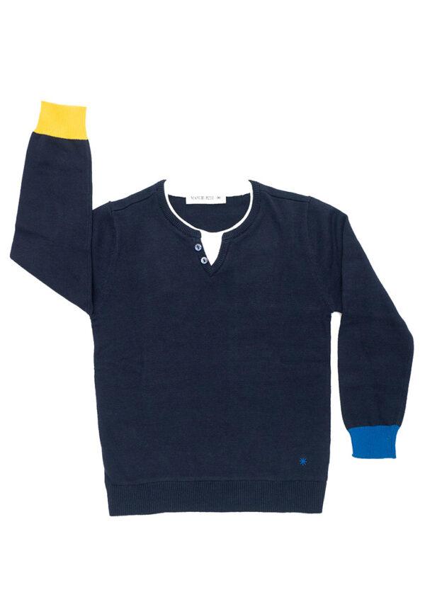 manuel Ritz maglia blu con polsini gialli e blu
