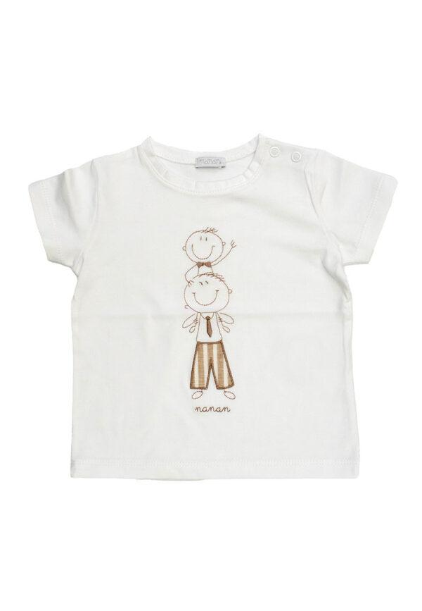 Nanan shirt bianca mezza manica stampa oro