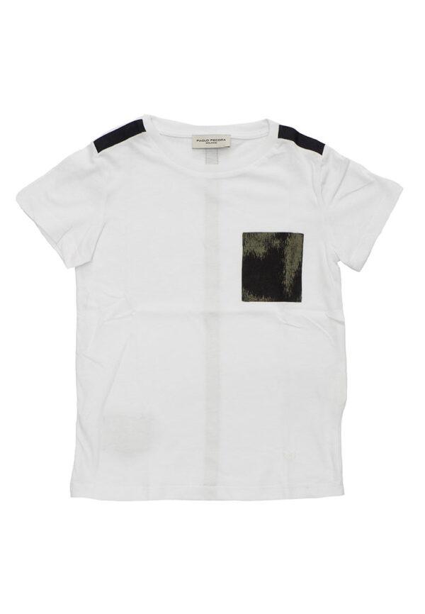 Paolo pecora kids t-shirt bianca mezza manica inserti