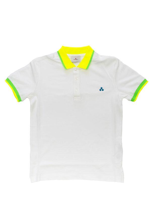 Peuterey t-shirt bianca mezza manica colletto giallo e verde fluorescente