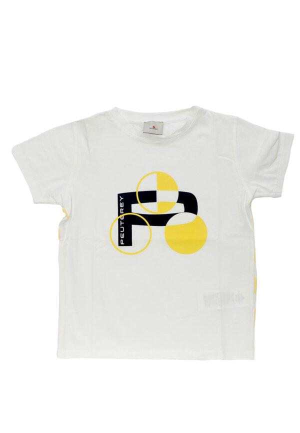 Peuterey t-shirt bianca mezza manica stampa gialla