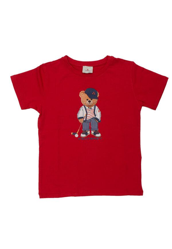 Peuterey t-shirt rossa con stampa orso