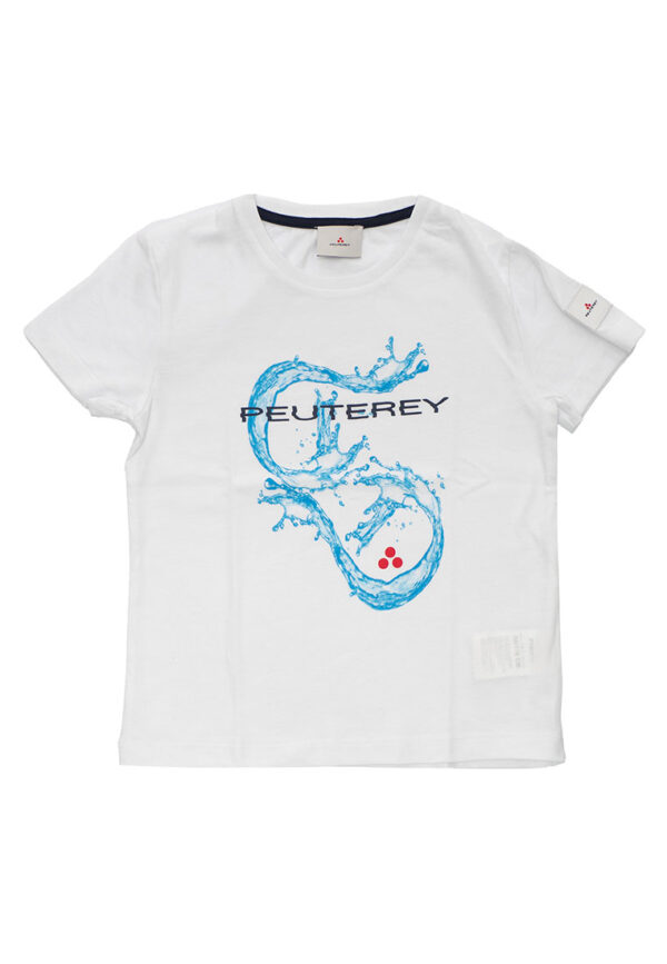 Peuterey t-shirt bianca mezza manica con stampa blu