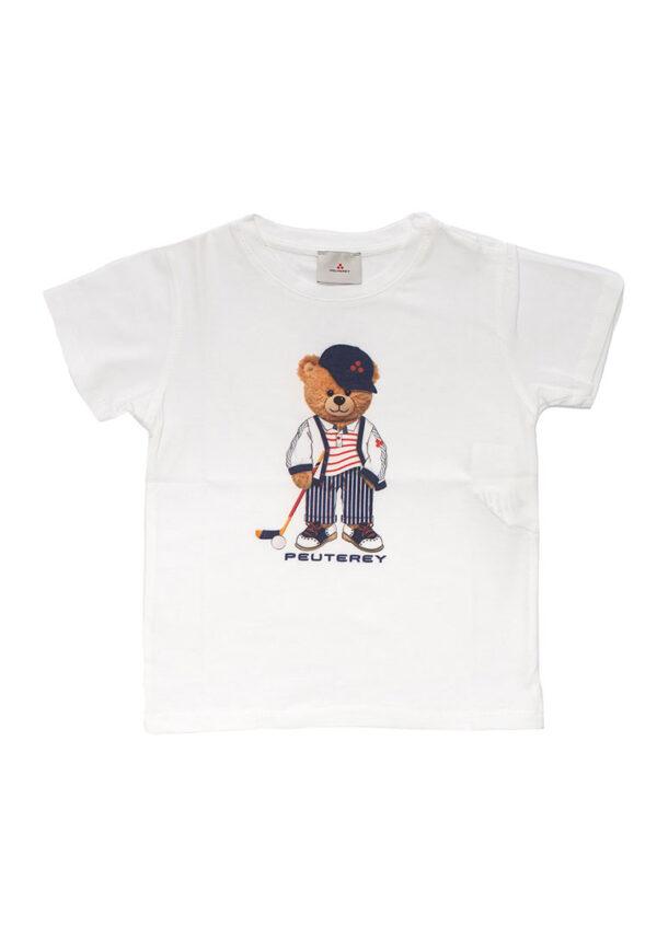 Peuterey t-shirt bianca mezza manica con stampa orsetto