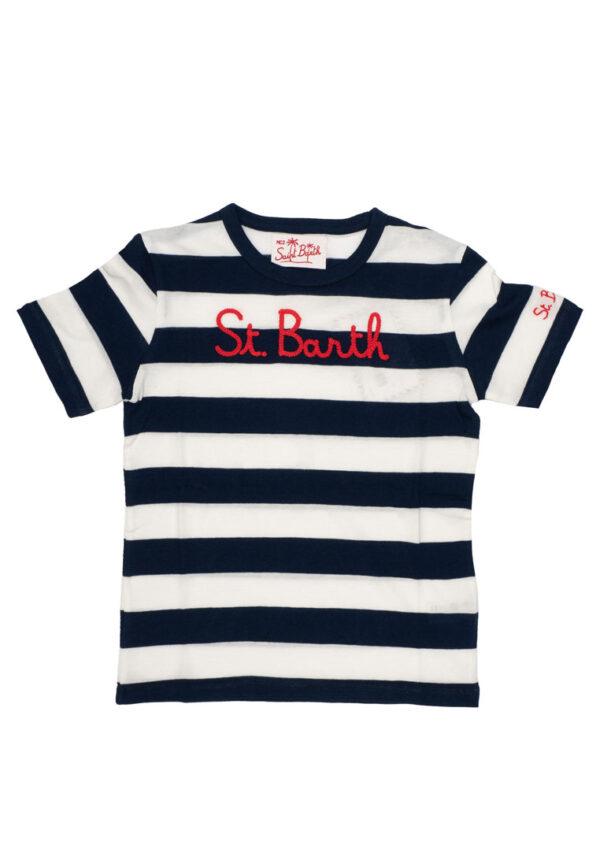 MC2 Saint Barth shirt a righe blu e bianche con logo rosso centrale