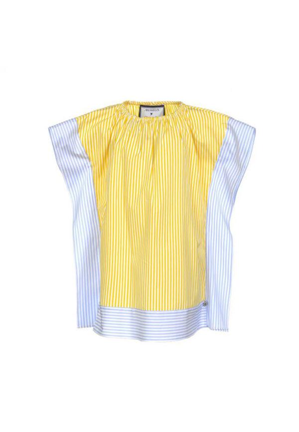 Simonetta caftano righe gialle e azzurre per bambina